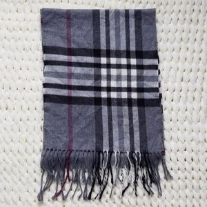 Cashmink plaid scarf fringe gray black maroon